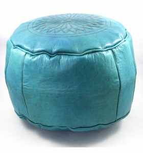 Pouffe made of Engraved Turquoise Leather