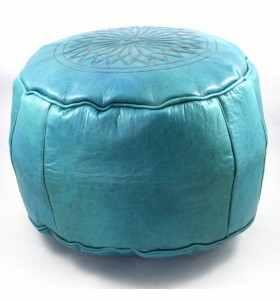 Puff de cuero grabado color turquesa