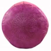 Pouf en cuir gravé rose fuchsia
