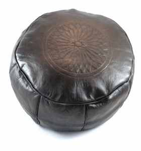 Pouffe made of Engraved Black Leather