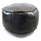 Pouf en cuir gravé noir