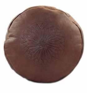 Pouf en cuir gravé marron