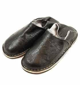 Babouches Amazigh cuir noir