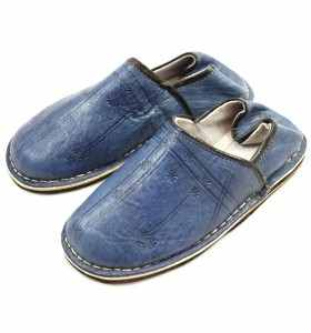 Amazigh Slippers made of Blue Leather