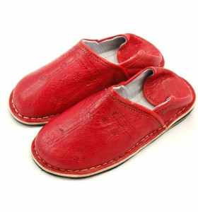 Amazigh Slippers made of Red Leather