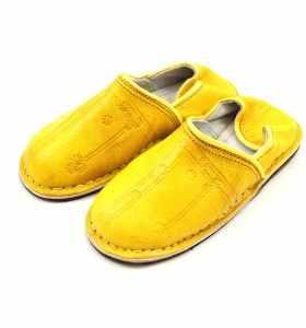 Babouches Amazigh cuir jaune
