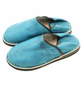 Babouches Amazigh cuir turquoise