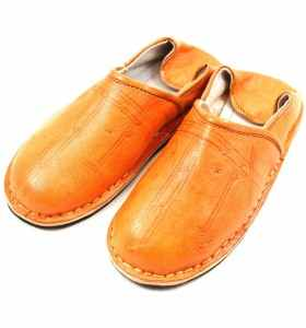 Amazigh Slippers made of Orange Leather