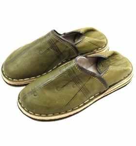 Amazigh Slippers made of Kaki Leather