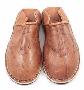 Babouches Amazigh cuir marron clair