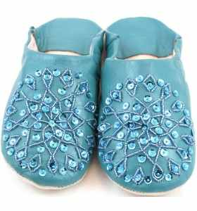 Embroidered AMIRA Slippers made of Turquoise Leather