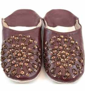 Embroidered AMIRA Slippers made of Brown Leather