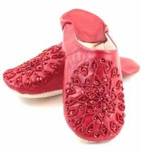 Babouches Amira brodées rouges