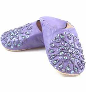 Babouches Amira brodées violettes