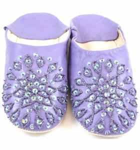Embroidered AMIRA Slippers made of Purple Leather
