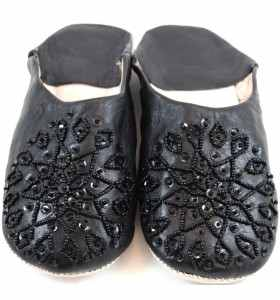Embroidered AMIRA Slippers made of Black Leather