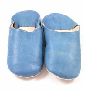 Flexible Slippers made of Blue Leather