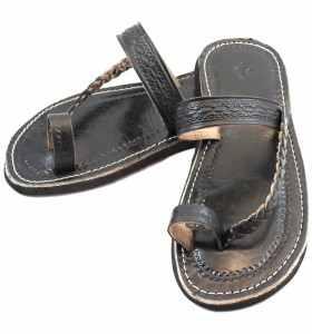 Sandales Chemch tressée en cuir noir