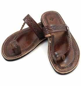 Sandales Chemch tressée en cuir marron