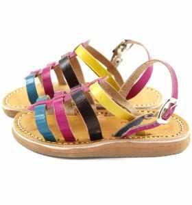Sandalias Zouina de cuero turquesa, rosa, marrón y amarillo para bebé