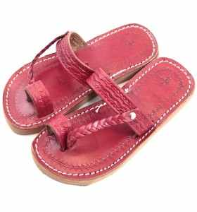 Sandalias Chemch de cuero rojo para niña