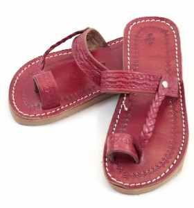 Sandales Chemch enfant en cuir rouge