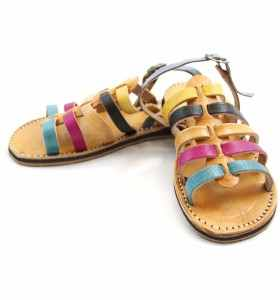 Sandalias Zora de cuero turquesa, rosa, amarillo y negro para niña