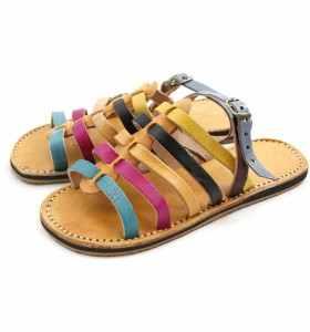 Sandales enfant Zora en cuir turquoise, rose, jaune et noir