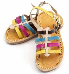 Sandalias Anissa de cuero amarillo, rosa, turquesa y negro para niña
