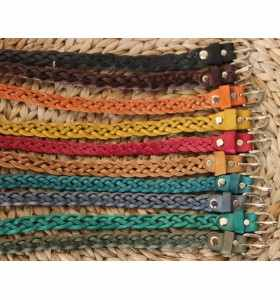 Belt made of Braided red Leather – 2 CM