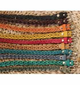 Cinturón de cuero trenzado color rojo de 2 cm