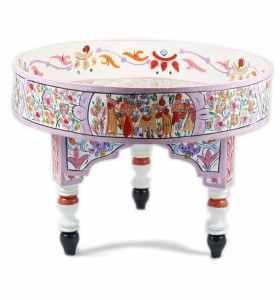 Table basse peinte à la main blanche rose