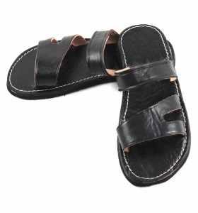 Sandales Sayf en cuir noir