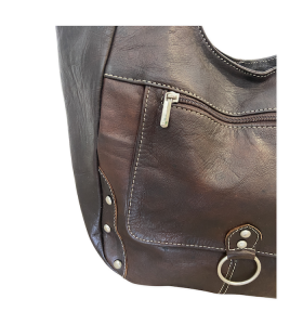 Bag made of Brown & Pleated Leather by Myriama