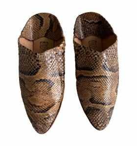 Balgha slippers in python-style snakeskin