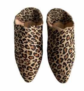 Balgha slippers in leopard leather