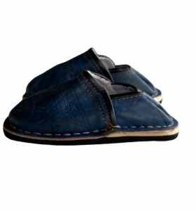 Children Slippers made of Blue Leather