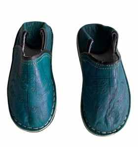 Children  Slippers made of turquoise Leather