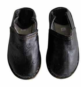 Children  Slippers made of BLACK Leather