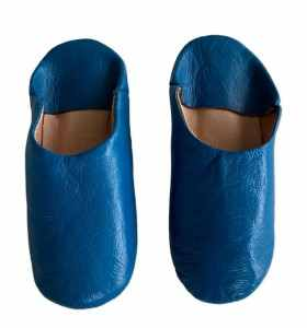 Slippers for children in blue leather