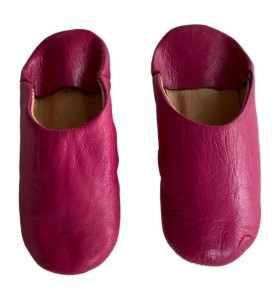 Fuchsia children's leather slippers