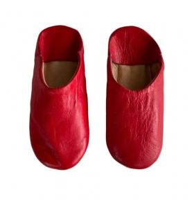 Pantuflas para niños en piel rojo