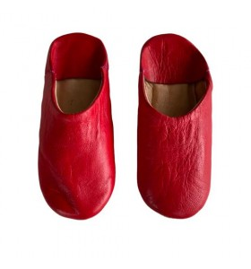 Slippers for children in red leather
