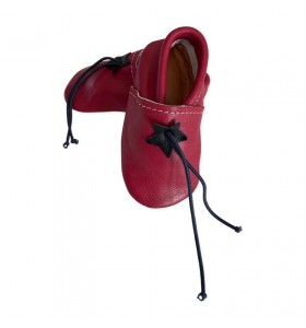 Red leather baby slippers