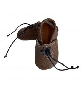 Pantuflas para bebé en piel croco marrón