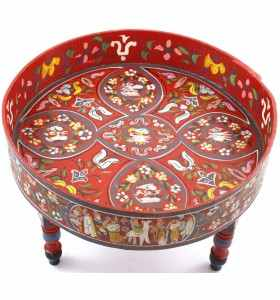 Mesa de centro pintada a mano color rojo