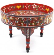 Table basse peinte à la main rouge
