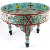 Table basse peinte à la main vert menthe